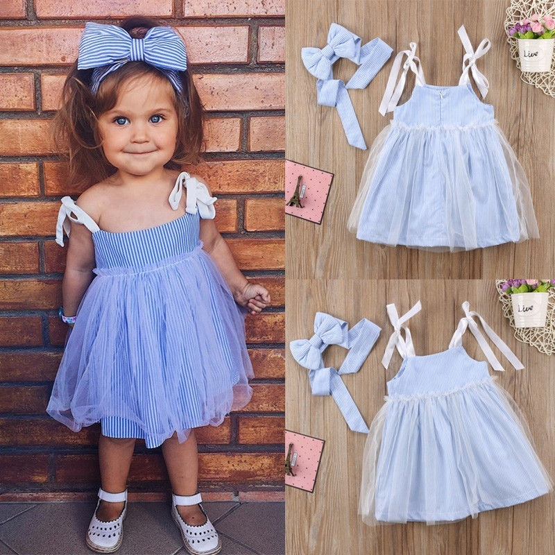 Toddler Baby Kids Girls Retro Ruffle Striped Summer Dress Party Sundress Clothes