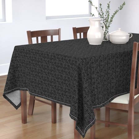 Image of Tablecloth Domino Dominoes Black And White Game Games Toys Polka Cotton Sateen
