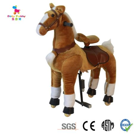 Golden Tan Med Pony Ride On Rocking Cycle Horse Giddy Up Cowboy!