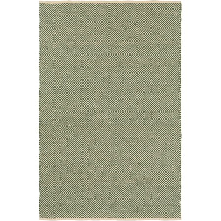 Natural Fiber Muriel Collection Area Rug in Green-Red and Rectangle Shape