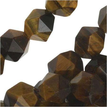 Tiger Eye Gemstone Beads - Dakota Stones Gemstone Beads, Tiger Eye, Star Cut Faceted Round 8mm, 15.5 Inch Strand