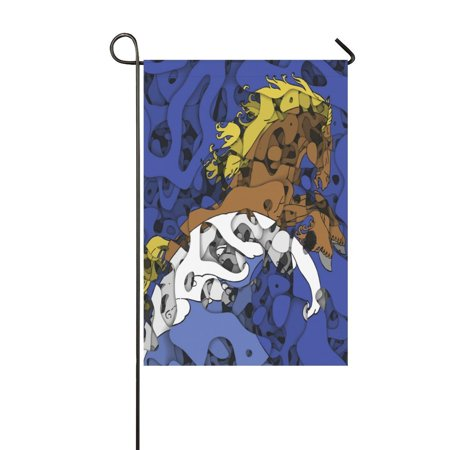 Horse Outdoor Art (MYPOP Abstract Art Horse with Wave Garden Flag 12x18 inches Outdoor Celebrating Holidays Decor)