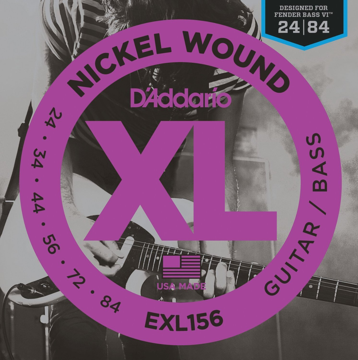 D'Addario EXL156 Nickel Wound Electric Guitar/Nickel Wound Bass Strings, 24-84