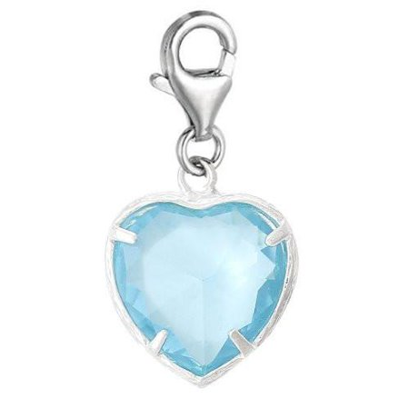Clip-on March Birthday Heart Dangle Pendant for European Clip on Charm Jewelry w/ Lobster Clasp ()