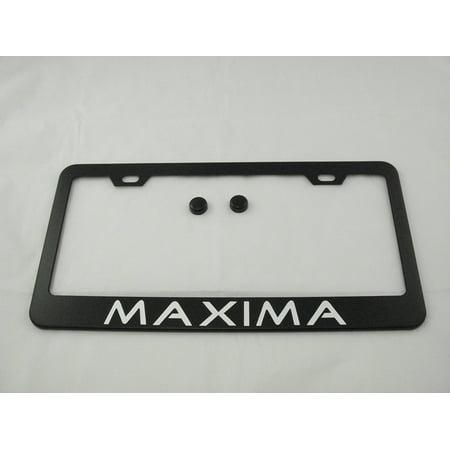 Nissan Maxima License Plate Frame (Nissan Maxima Black License Plate Frame with Caps, By None)