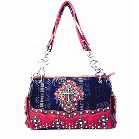 Premium Western Rhinestone Suede Leather Womens Handbag Purse With Cross In Multi Colors