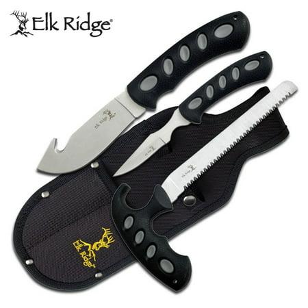 Elk Ridge - Outdoors 3-PC Hunting Knife Set - Satin Finish Stainless Steel Blades, Black Nylon Fiber Handles, Includes Combo Sheath - ER-252 420j2 Stainless Steel Blade
