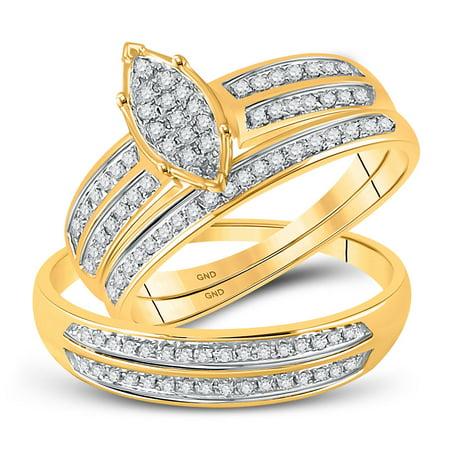 Gold Wedding Band Set - 10kt Yellow Gold His & Hers Round Diamond Cluster Matching Bridal Wedding Ring Band Set 1/4 Cttw