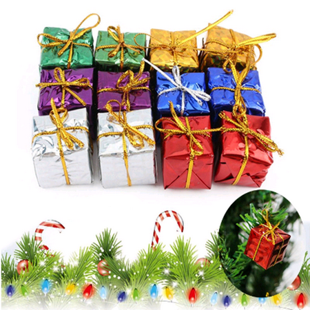Anauto 12Pcs Multi Color Christmas Gift Box for Presents and Candy Party Ornaments Xmas Tree Hanging Decor - Tree Boxes