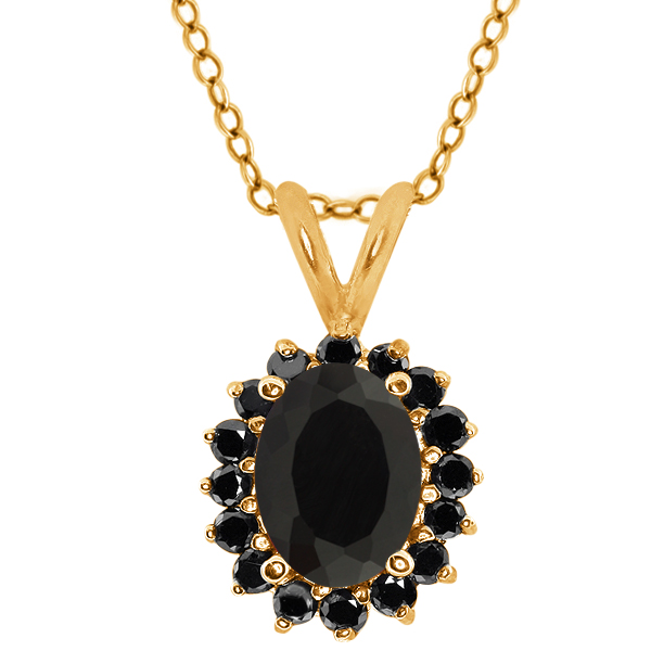 Oval Black Onyx Black Diamond Yellow Gold Plated Silver  Pendant 1.97 Cttw With 18 Inch Chain