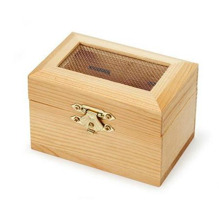 Bulk Buy Diy Crafts Wood Box Hinged With Mesh Lid 3 18 X 2 38 X 2