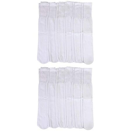 12 Pairs Mens Tube Socks, Cotton, Over The Calf, Full Terry Cushion, White, Ribbed, Bulk Value Sock - Terra Sock