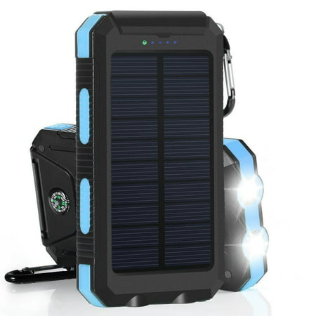 600000mAh Solar Power Bank, Waterproof Dual USB Portable Solar Battery Charger - Blue