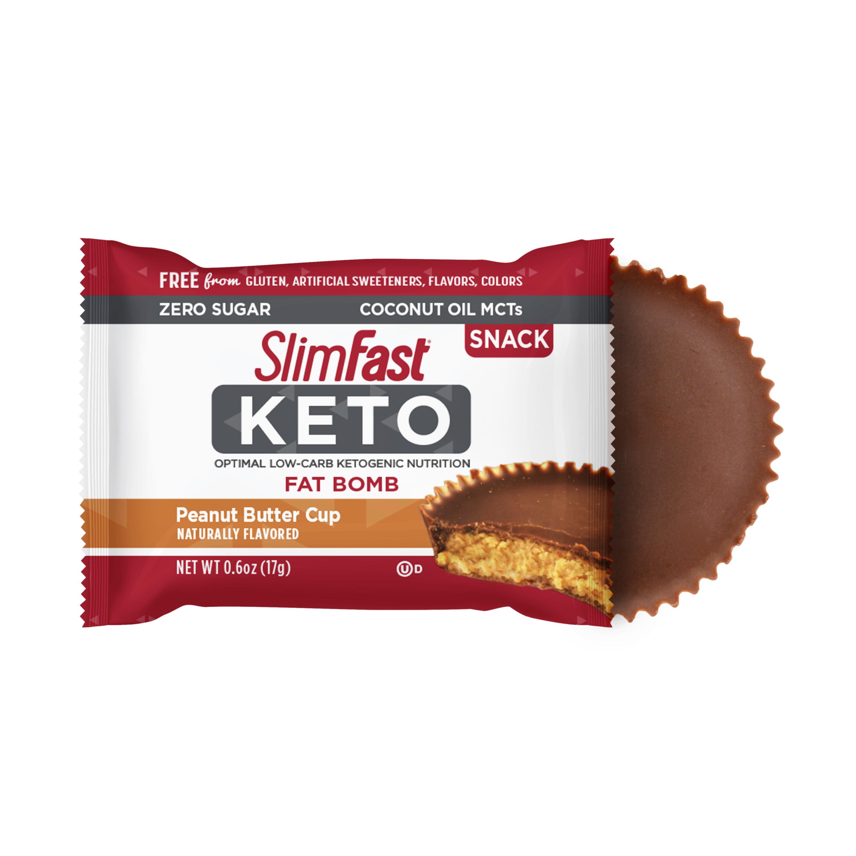 SlimFast Keto Fat Bomb Snacks, Peanut Butter Cups, 0 6oz  Pack of 14