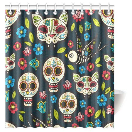 MYPOP Skulls Decorations Shower Curtain, Ethnic Mexican Skulls with Flower Motifs Calavera Day of the Dead Bathroom Shower Curtain, 66 X 72 Inches