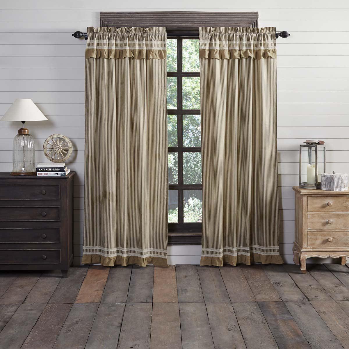 Cotton Canvas Black Eyelet Lined Curtain: Creme Black White Farmhouse Curtains Kendra Stripe Rod