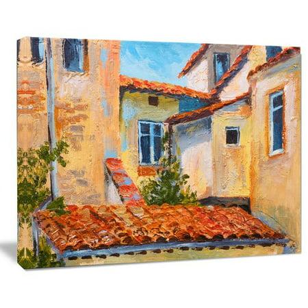 DESIGN ART Designart - European Rooftops - Cityscape Canvas Art Print - Red