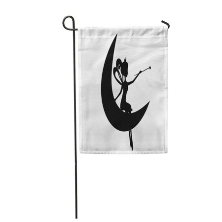 SIDONKU Child Black Silhouette Fairy with Magic Wand Sitting on The Moon Stencil Girl La Garden Flag Decorative Flag House Banner 12x18 inch