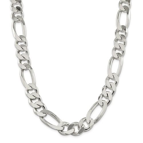 Sterling Silver 9in 15mm Men's Figaro Chain Bracelet