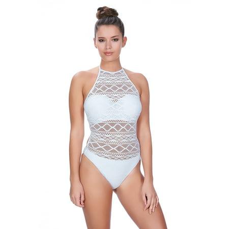 c4b5df375dccd Freya - Freya Womens Sundance Underwire High Neck Cutout Swimsuit, 30D,  White - Walmart.com