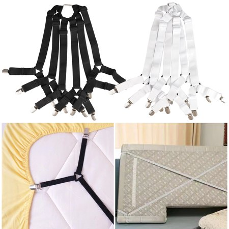 Bed Sheet Fasteners, Adjustable Elastic Crisscross Fitted Sheet Fasteners Straps Grippers Suspenders Corner Holder Elastic Heavy Duty for All Bedsheets Fit Round and Square Mattresses ( 3 Way 6 (Three Crosses On The Side Of The Road)