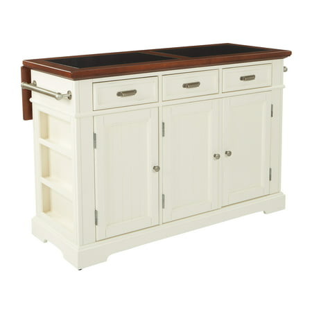 Farmhouse Basics Kitchen Island White Finish with Vintage Oak and Granite  Top