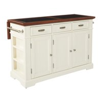Farmhouse Basics Kitchen Island White Finish with Vintage Oak and Granite Top
