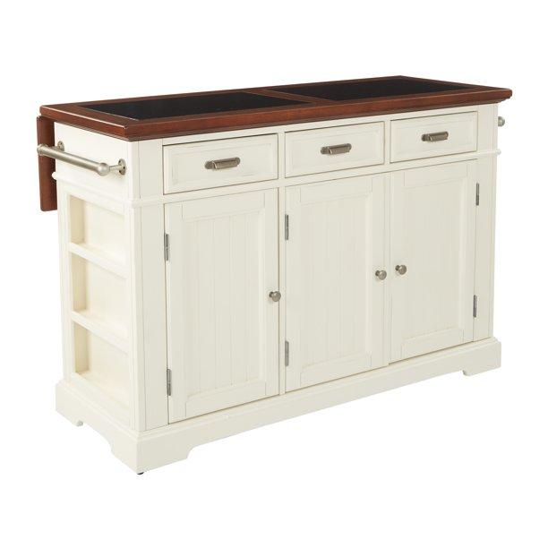 Farmhouse Basics Kitchen Island White Finish With Vintage Oak And Granite Top Walmart Com Walmart Com
