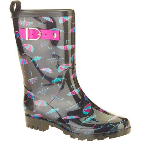 Women's Umbrella Mix Printed Mid-Calf Jelly Rain Boots (rubber rain boots for women)