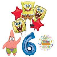 Spongebob Squarepants 6th Birthday Party Supplies and Balloon Bouquet Decorations