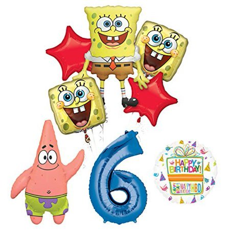 Spongebob Squarepants 6th Birthday Party Supplies and Balloon Bouquet Decorations for $<!---->