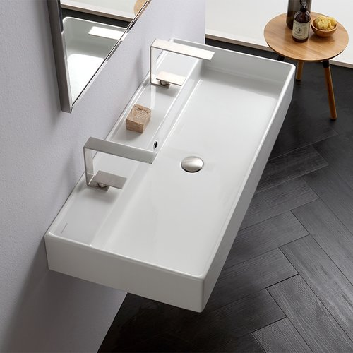 Scarabeo by Nameeks Teorema Ceramic 40'' Wall Mount Bathroom Sink with Overflow