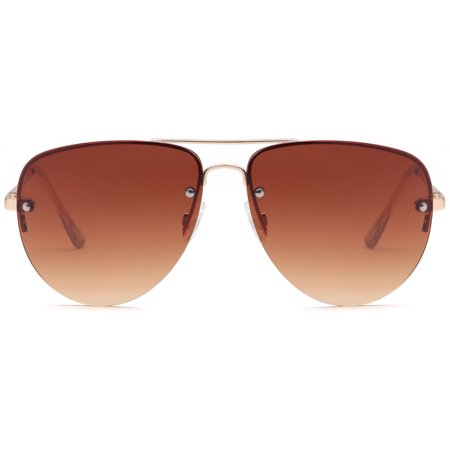 SUN LOUNGER Oversized Metal Frame Classic Aviator Sunglasses with Spring Hinges - Gradient Brown Lens on Gold (Gradient Mirror Sunglasses)