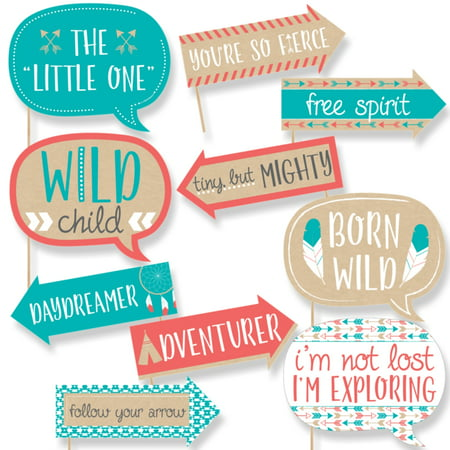 Funny Be Brave Little One - Boho Tribal Baby Shower or Birthday Party Photo Booth Props Kit - 10 Piece](Boho Birthday Party)