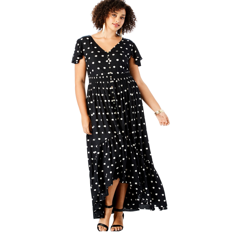 Roaman\'s - Plus Size Button-front Maxi Dress With High-low Hem ...