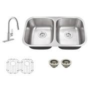 Schon SC967553 Double Basin Undermount Kitchen Sink Set