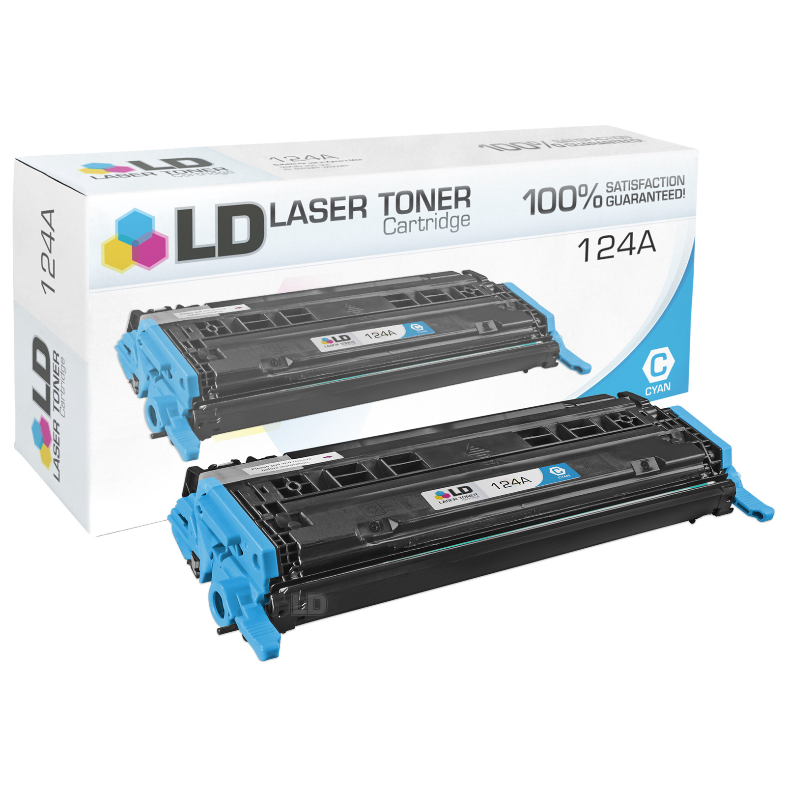 LD Remanufactured Replacement Laser Toner Cartridge for Hewlett Packard Q6001A (HP 124A) Cyan