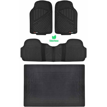 Motor Trend 100 Percent Odorless Car Floor Mats with Standard Trunk Cargo Mat, 4 Pieces Rubber Protection, Black Beige