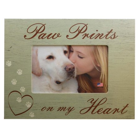 Paw Prints On My Heart Dog Pet Memorial 4x6 Wood Picture Frame Photo Frame Pen