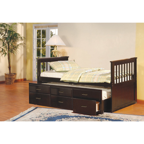 K and B Furniture Co Inc K & B Espresso Twin-size Spindle Captain Bed