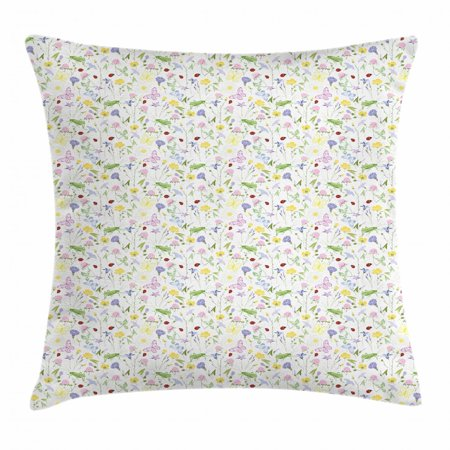 Ladybug Throw Pillow Cushion Cover, Butterfly Soft Toned Blossom Flora Daisy Aster Bluebell Chamomile Clover Petals, Decorative Square Accent Pillow Case, 16 X 16 Inches, Multicolor, by Ambesonne