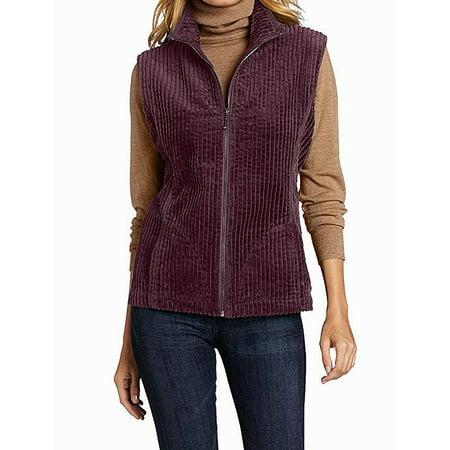 Burgundy Women's Small Kinsdale Corduroy Vest S