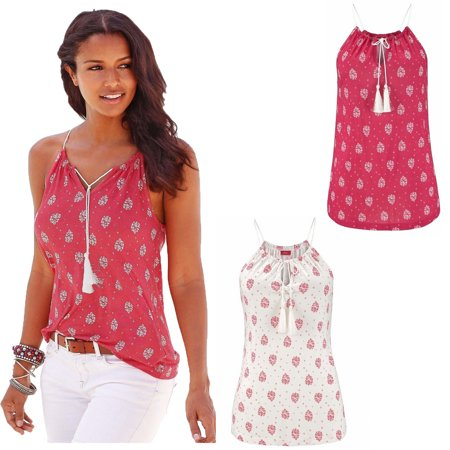 Mupoo Women Summer Casual Sleeveless Floral Spaghetti Strap Vest Top Shirt Blouse Tank Tops