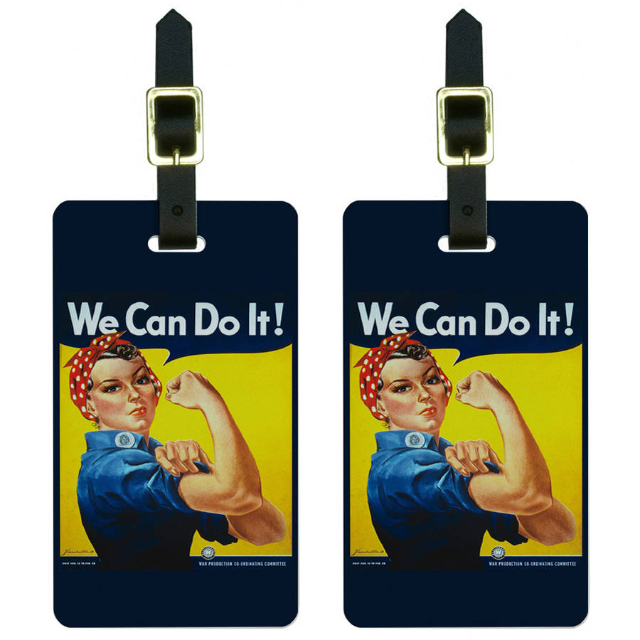 Rosie The Riveter War Poster Luggage Tags Suitcase Carry-On ID, Set of 2