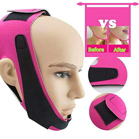 1 Pack Thin Face Bandage Face Slimmer Get Rid Of Double Chin Create V-Line Face Shapes Chin Cheek Lift Up Anti Wrinkle Lifting Belt Face Massage Tool for Women and (Get Rid Of Double Chin In Photos App)