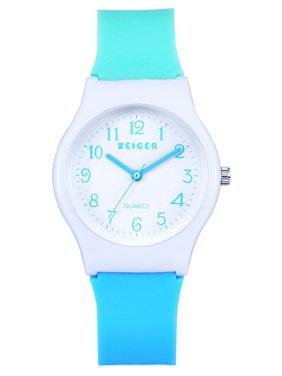 Zeiger New Children Kids Watch, Young Girls Teen Student Time Teacher Watch Resin Band(Mint/Sky Blue)