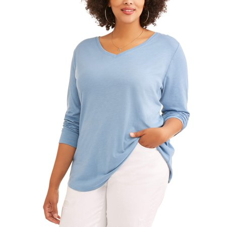 b5e0cc00a96 Terra   Sky - Terra and Sky Women s Plus Long Sleeve V-Neck Tee -  Walmart.com