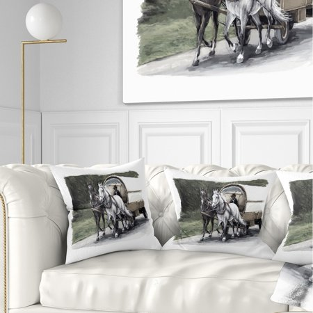 Excellent Design Art Designart Horse Cart Black And White Animal Painting Throw Pillow Uwap Interior Chair Design Uwaporg