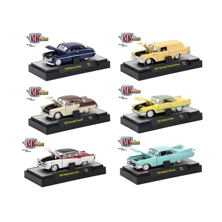 auto thentics 6 piece set release 43 in display cases 1 64 diecast model cars by m2 machines. Black Bedroom Furniture Sets. Home Design Ideas