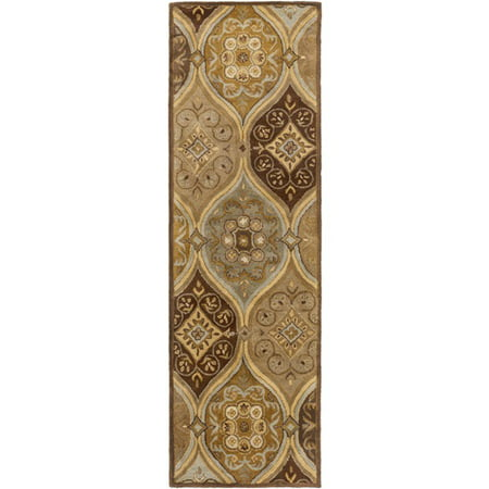 2.5' x 8' Moroccan Splendor Gold Yellow, Chocolate and Sandy Brown Wool Area Throw Rug Runner